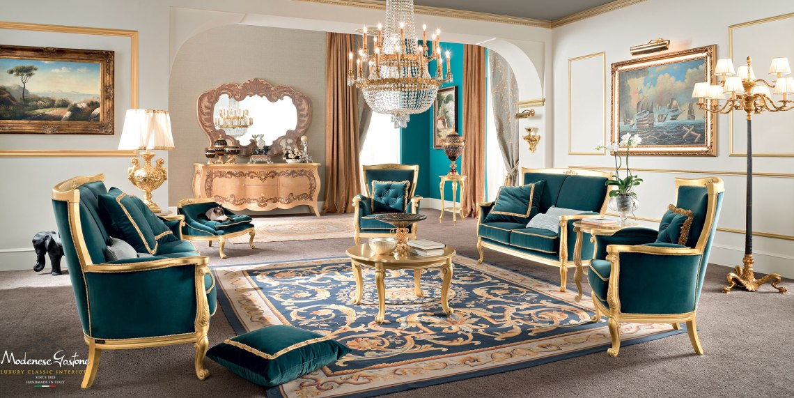 Deluxe-noble-Italian-living-room-with-padded-sofa-and-armchair-Bella-Vita-collection-Modenese-Gastone (1)